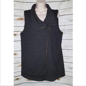 Eileen Fisher Gray Wool Vest Jacket Moto Zip